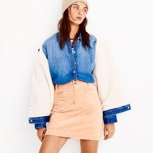 NWT MADEWELL corduroy mini skirt creamsicle sz 18